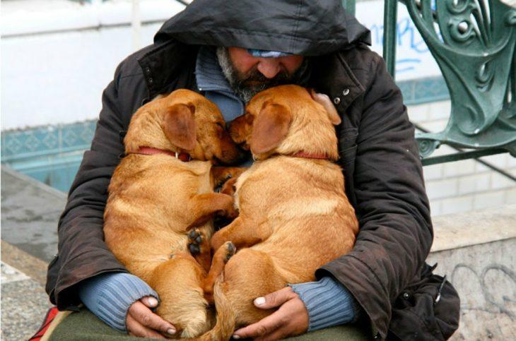 persona indigente abrazando a sus dos perros