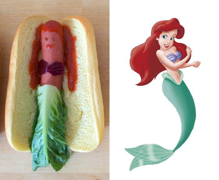 Princesa de Disney Ariel creada como un hot dog