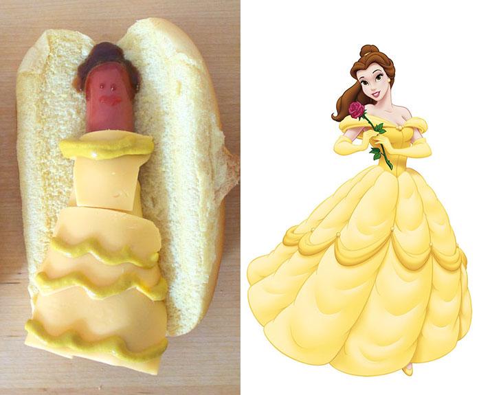 Princesa de Disney Belle creada como un hot dog