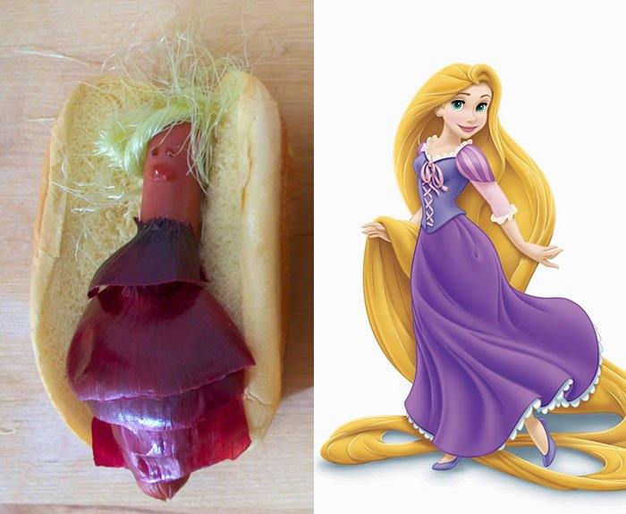 Princesa de Disney Rapunzel creada como un hot dog