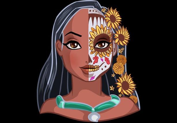 Pocahontas caracterizada como La Catrina
