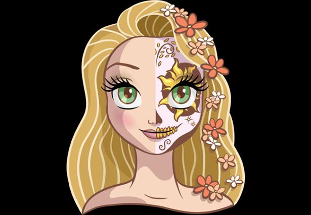 Rapunzel caracterizada como La Catrina