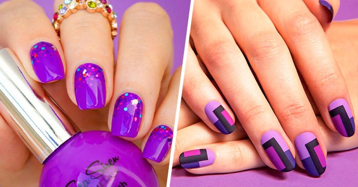ideas para lucir una elegantes uñas en tonos purpura