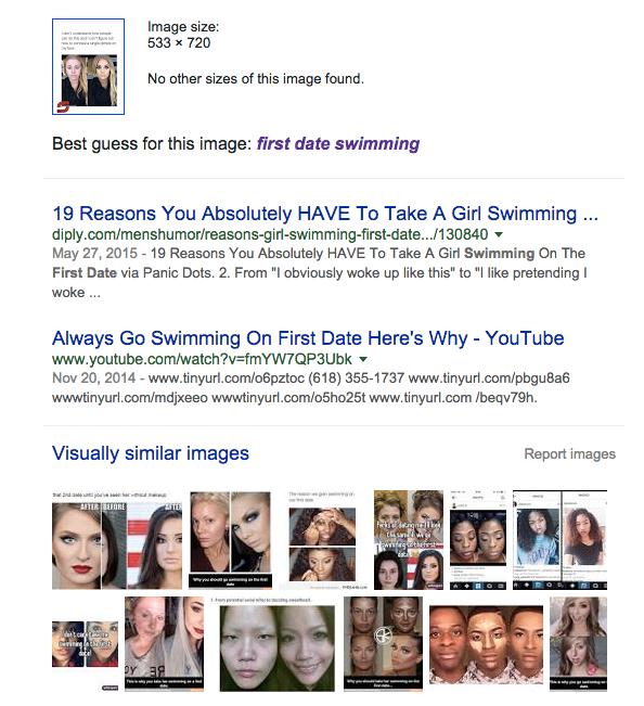 Lista en google de mujeres que tienen acné y usan maquillaje