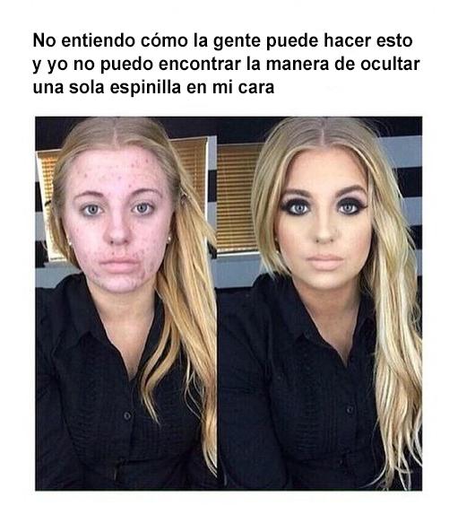 Post en redes sociales de una chica que tiene acné y usa maquillaje