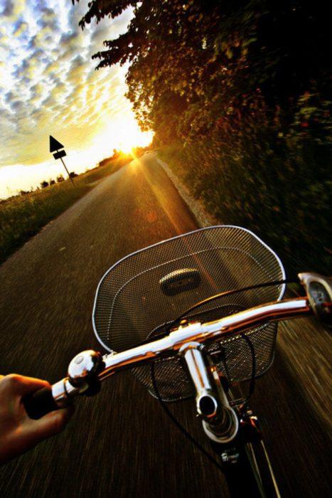 bicicleta con camino al frente