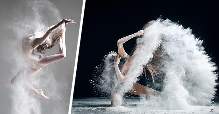 Imágenes de bailarines cobran vida añadiendo como elemento dinámico ¡explosiones de harina!