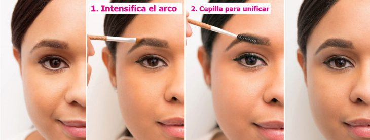 Chica aplicandose maquillaje en las cejas de manera correcta