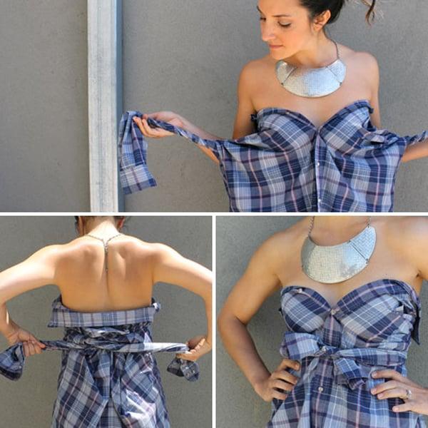 Chica haciendo un vestido con una camiseta a cuadros