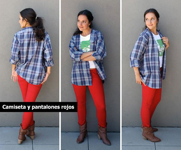 Chica usando un pantalon rojo y una camiseta a cuadros azules
