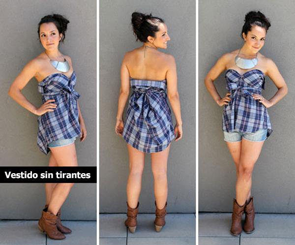 Chica usando un vestido sin tirantes