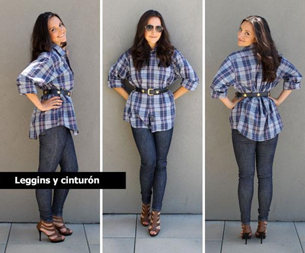 Chica usando una camisa a cuadros y un cinturón