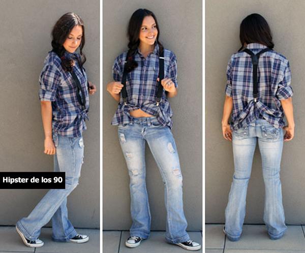 Chica usando una camisa a cuadros y sujetándola con tirantes