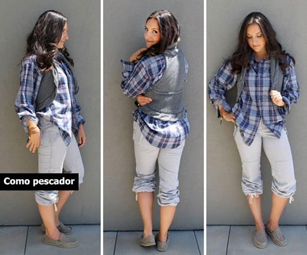 Chica usando un chaleco con una camisa de cuadros y unos jeans