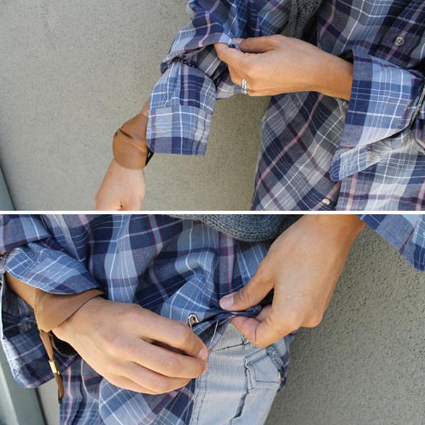 chica atando las manos de una camiseta con un seguro