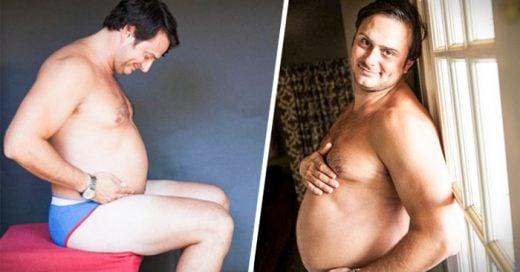 Hombre se toma fotos de maternidad en lugar de su esposa
