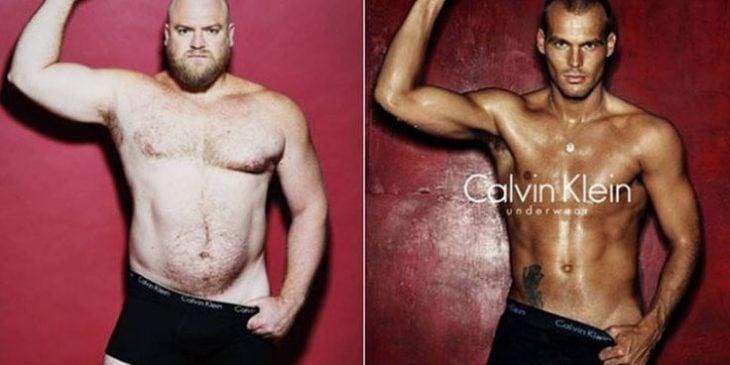 hombre real comparado con modelo