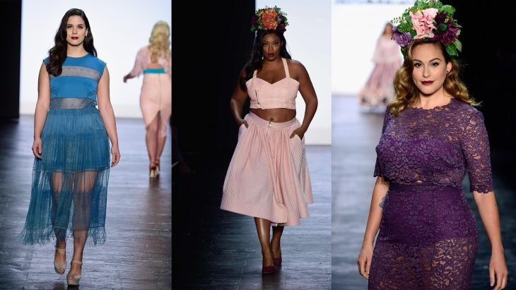 Modelos de tallas grandes del programa project runway desfilando en la fashion week en New York