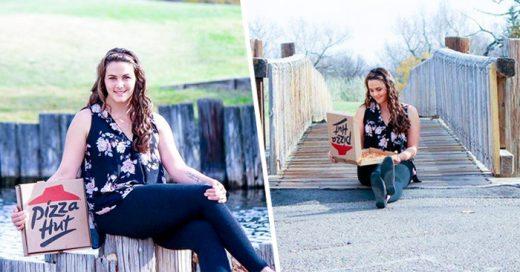 sesión fotográfica de chica que se comprometió con una pizza