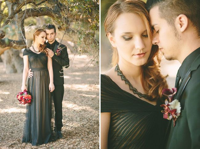 Vestido de novia en color negro con detalles dorados