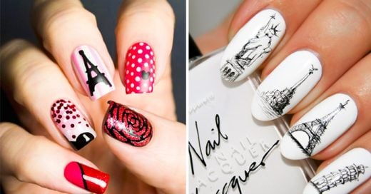 diseños de uñas con estilo parisino