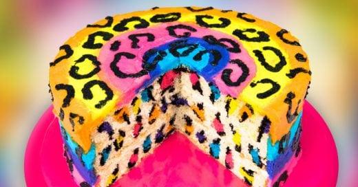 receta para hacer un pastel animal print multicolor