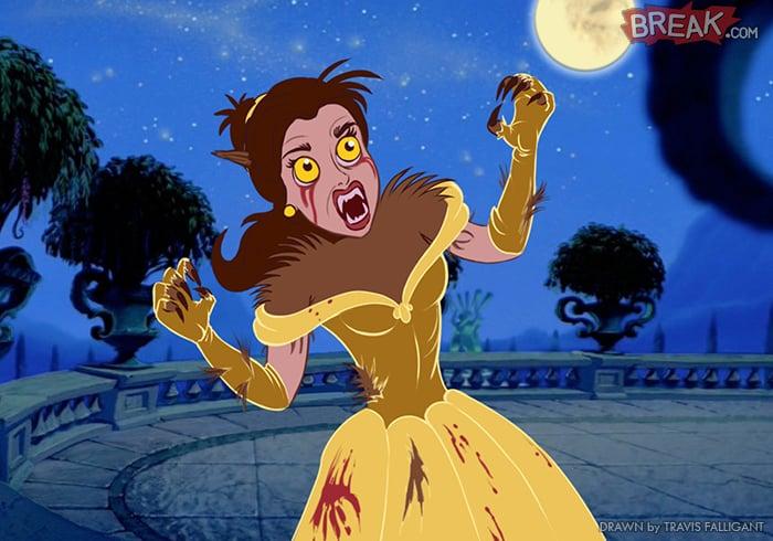 Princesa de Disney como villano de terror de hombre lobo