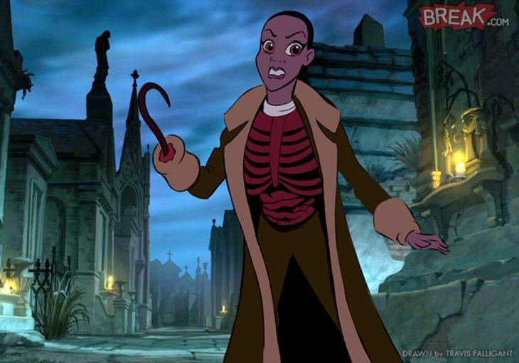 Princesa Tiana como el villano de terror Candyman