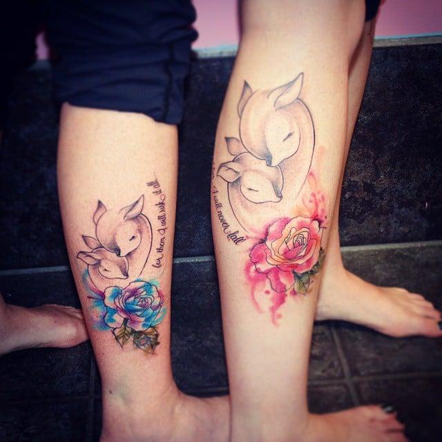 Tatuajes madre e hija ciervos