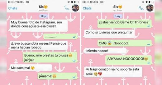 textos que se envian las hermanas que viven lejos