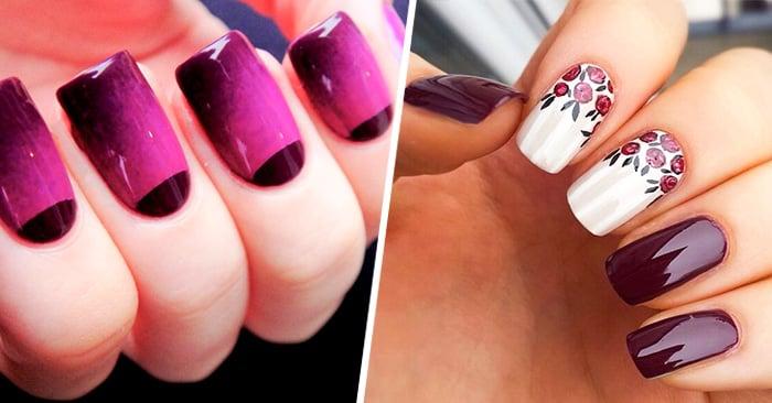 20 Elegantes Ideas Para Diseñar Tus Uñas Con Color Ciruela