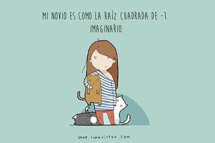 Dibujo de la ilustradora Lingvistov chica con sus gatos