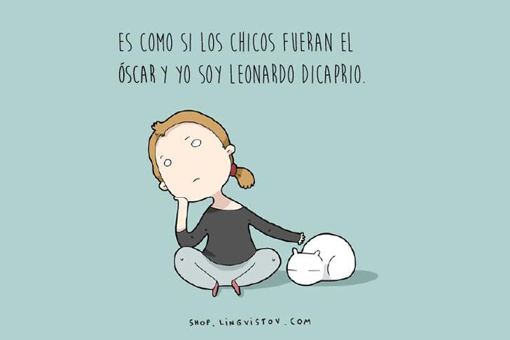 Dibujo de la ilustradora Lingvistov chica acariciando a un gato