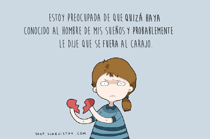 Dibujo de la ilustradora Lingvistov chica rompiendo un corazón