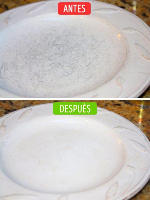 plato rayado y plato limpio