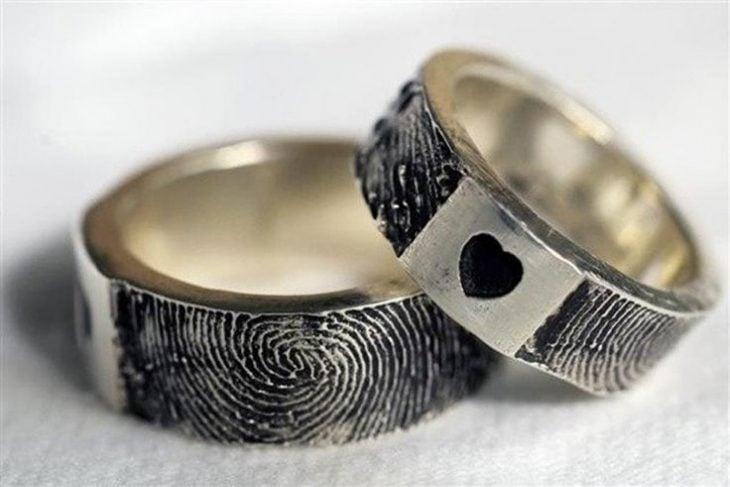 anillos de promesa huella digital