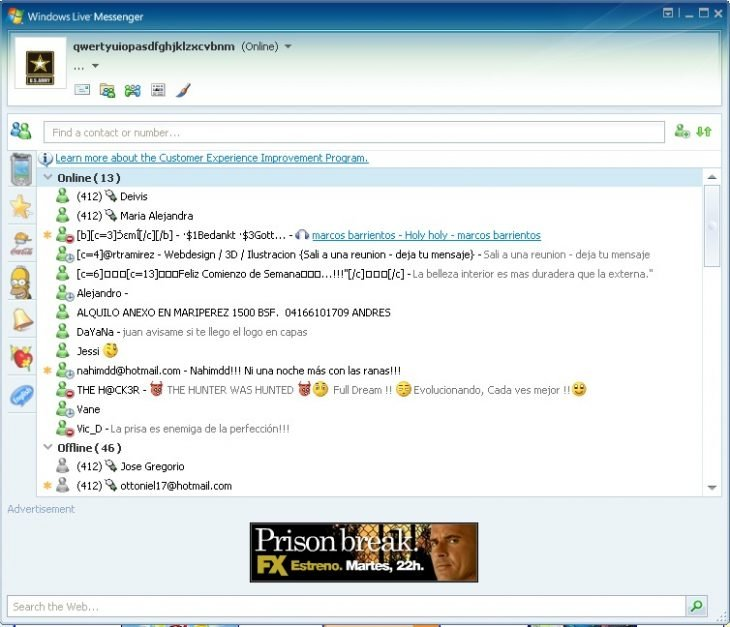 pantalla MSN