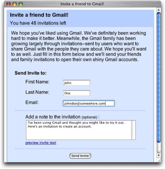 pantalla invitación gmail