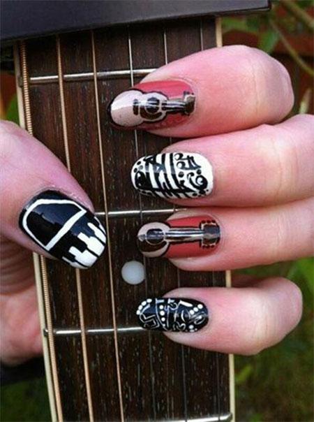 arte de uñas instrumentos con rojo