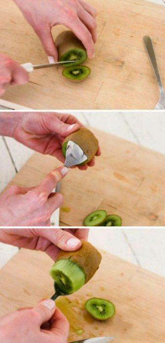 chica pelando un kiwi con una cuchara