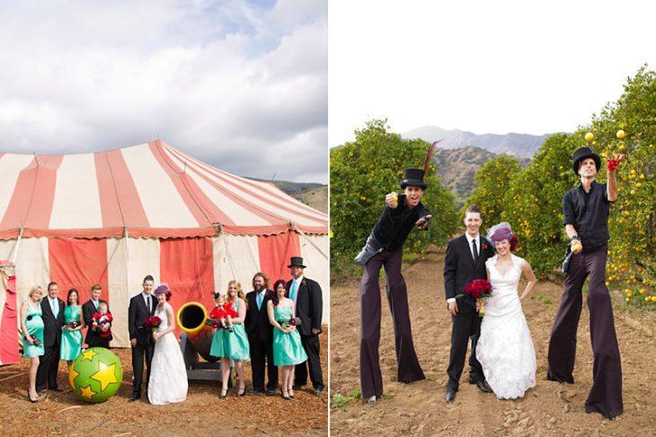 fotos padrinos y saltimbanquis boda circo vintage
