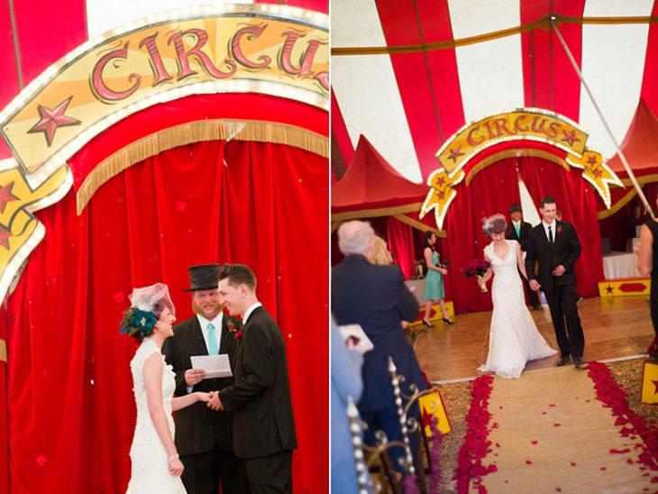novios caminando hacia el juez boda circo vintage