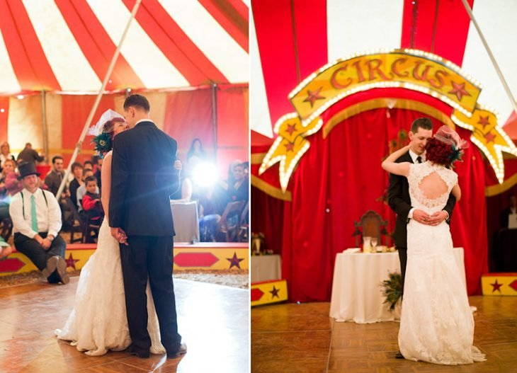 novios bailando boda circo vintage