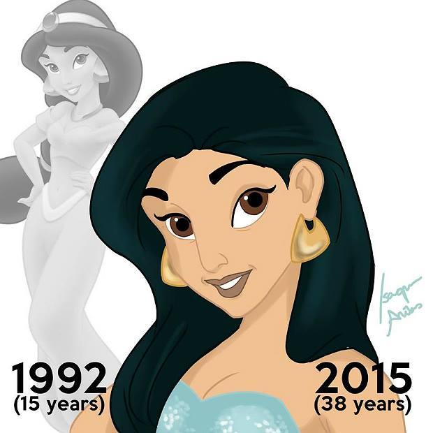 Princesas de Disney envejeciendo. Jasmine