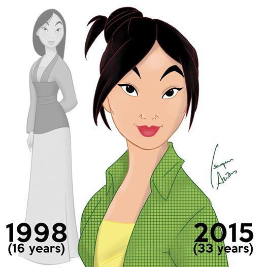 Princesas de Disney envejeciendo. Mulan