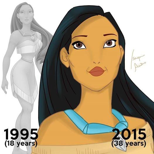 Princesas de Disney envejeciendo. Pocahontas