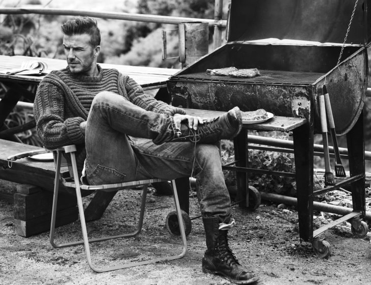 David Beckham a blanco y negro