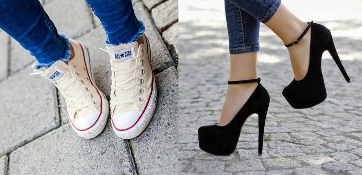 There are two types of girls wearing shoes