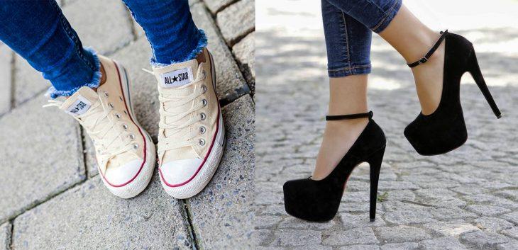 Existen dos tipos de chicas usando zapatos