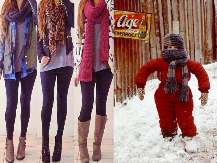 cdos clases de chicas durante el invierno, las que usan ropa abrigadora y las que usan algo ligero